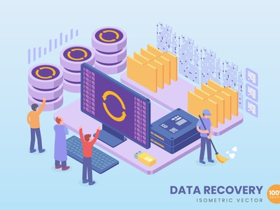 Isometric Data Recovery Concept development website process landing page landing business technology vector illustration flat web page agency app 3d character 3d illustration concept conceptual 3d animation 3d