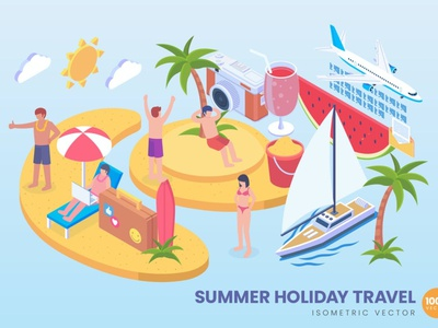 Isometric Summer Holiaday Vector Concept sea island beach traveling work nomad digital vacation holiday summer remote freelancer infographic vector isometric