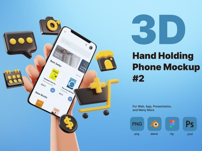 3D Hand Holding Phone Mockup for E-commerce page 3d art 3d animation illustration 3d illustration iphone template sale business website ui app smartphone holding hold mockup rendering phone hand 3d