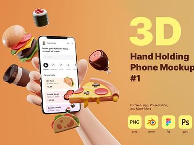 3D Hand Holding Phone Mockup for Food Industry 3d animation illustration 3d illustration iphone template sale business website ui app smartphone holding hold mockup concept render rendering phone hand 3d