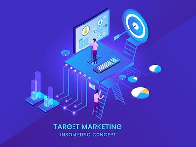 Target Marketing - Isometric Vector logo design app page 3d art 3d animation 3d illustration 3d website planning worker research business illustration concept analysis seo isometric marketing target