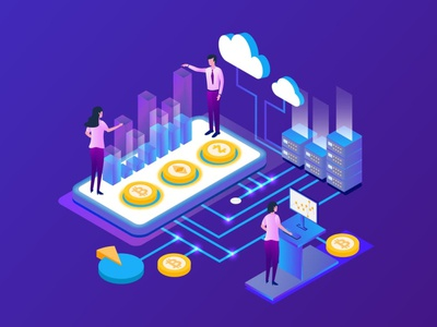 Isometric Cryptocurrency Bitcoin Analysis Vector design app page 3d art 3d animation 3d illustration bit processor btc data currency crypto mining blockchain illustration vector analysis bitcoin cryptocurrency isometric