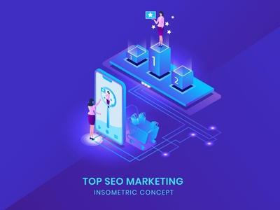 Top Seo Marketing - Isometric Vector 3d character 3d art 3d animation 3d illustration 3d character app agency page web flat illustration bector concept business landing page website development illustrations