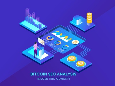 Bitcoin Seo Analysis - Insometric Vector 3d character page 3d art 3d animation illustration 3d illustration 3d character agency app web page web flat concept vector business landing page website development illustrations