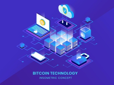 Bitcoin Technology - Insometric Vector landing page business concept vector illustrations flat web page web animation anim ui logo design 3d character app page 3d art 3d animation illustration 3d illustration