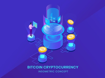Bitcoin Cryptocurrency - Insometric Vector landing page landing business concept vector illustration flat website web agency 3d character app 3d illustration 3d animation 3d art page 3d character design
