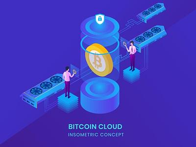 Bitcoin Cloud - Insometric Vector business concept vector illustration flat motion graphics graphic design animation ui web agency app 3d illustration 3d animation art 3d art page 3d character 3d design