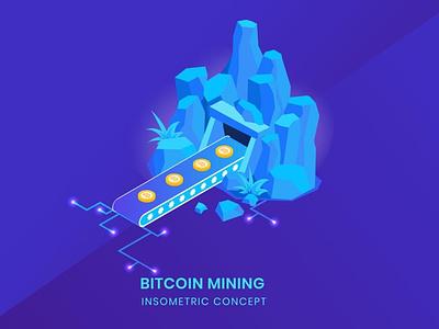 Bitcoin Mining - Insometric Vector ui illustrations development website business concept vector illustration flat web agency app 3d characters 3d illustration 3d animation 3d art page 3d character 3d design
