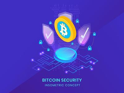 Bitcoin Security - Insometric Vector 3d animation ui logo design 3d character app page 3d art 3d animation 3d illustration currency cryptocurrency crypto blockchain illustration vector isometric security bitcoin