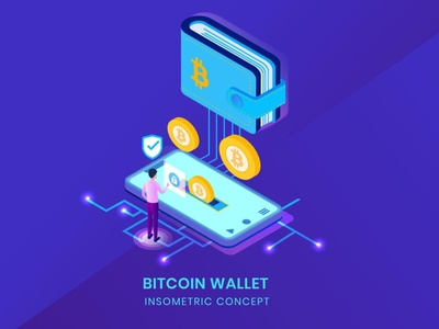Bitcoin Wallet - Insometric Vector animation ui logo design 3d character app page 3d art 3d animation illustration 3d illustration cryptocurrency currency crypto blockchain illustrations vector isometric wallet bitcoin
