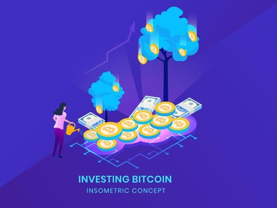 Investing Bitcoin - Insometric Vector motion graphics graphic design 3d animation ui logo design 3d character app page 3d art 3d animation 3d illustration blockchain rate illustration vector isometric bitcoin investing