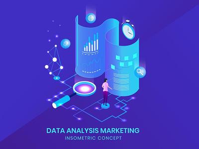 Data Analysis - Insometric Concept ui logo design development website landing page business vector illustration flat web page agency app character 3d 3d illustration 3d animation 3d art 3d character