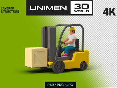 3D Man Worker in Loader with Box Container illustrations vector isometric development landing page branding motion graphics graphic design 3d animation ui design 3d character app page 3d art 3d animation illustration 3d illustration logo