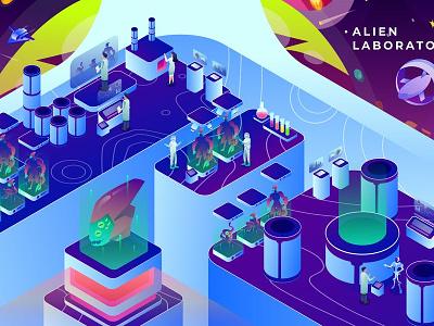 Alien Research Laboratory - Isometric Illustration concept development pages landing page landing isometric branding motion graphics graphic design 3d animation ui logo design app page 3d art 3d animation illustration 3d illustration