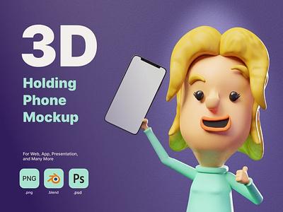 3D Man Holding Phone Mockup logo design app 3d character page 3d art 3d animation illustration 3d illustration iphone template smartphone rendering render phone hold holding hand 3d mockup