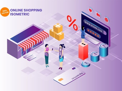 Isometric Online Shopping Vector Illustration app page 3d art 3d animation 3d illustration illustration vector isometric commerce shop payment internet business credit card credit digital retail web online shopping