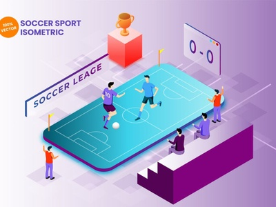 Concept Soccer Sport Vector Illustration 3d art 3d animation 3d illustration illustration 3d infographic vector isometric score match lifestyle football soccer basketball gym healthy fitness traingin workuout sport