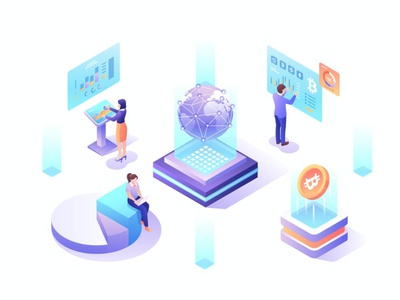 Cryptocurrency Isometric Vector Illustration app page 3d art 3d animation 3d illustration analysis coin management data people digital cryptocurrency crypto bitcoin sketch figma isometric flat graphic illustration