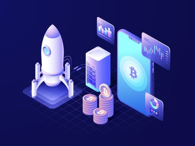 Cryptocurrency Isometric Vector Illustration app page 3d art 3d animation 3d illustration coin smartphone rocket digital cryptocurrency crypto bitcoin sketch figma isometric flat graphic landing page landing illustration
