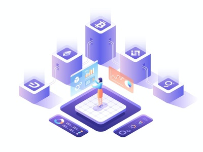 Cryptocurrency Isometric Vector Illustration app page 3d art 3d animation 3d illustration mine coin futuristic people women digital cryptocurrency crypto bitcoin sketch figma isometric flat graphic illustration