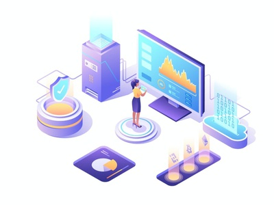 Cryptocurrency Isometric Vector Illustration app page 3d art 3d animation 3d illustration 3d coin system people data computer digital cryptocurrency crypto sketch figma isometric flat graphic illustration