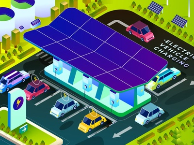 Electric Vehicle Charging - Isometric Illustration web studio analysis data business phone flat app development colors blue icons icon ui illustration illustrations graphic design 3d isometric