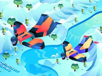 Wingsuit Flying - Isometric Illustration logo design 3d character app page 3d animation 3d illustration illustration ux ui concept web development web design website abstract 3d art 3d isometric concept isometric design isometric