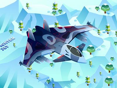 Fighter Jet - Isometric Illustration 3d art 3d animation 3d illustration illustration graphic design 3d animation pages page landing page landing ux ui web design website design concept isometric design isometric concept isometric