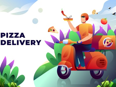 Pizza Delivery - Vector Illustration 3d illustration concept web development web design website web pages page landing page landing illustration vehicle restaurant business fast service man food pizza delivery pizza