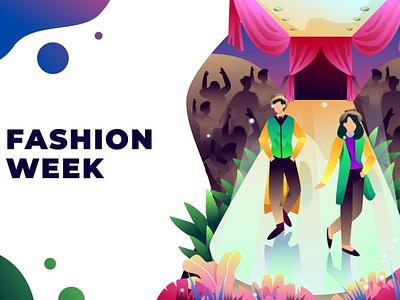 Fashion Week - Vector Illustration ui 3d concept web development web design website web pages page landing pages landing page landing trendy stylish beauty fashion modern elegance collection dress