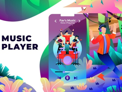 Music Player - Vector Illustration apps graphic design graphics graphic design app concept 3d illustration page header illustration headers header web header development web development web design website web illustration vector