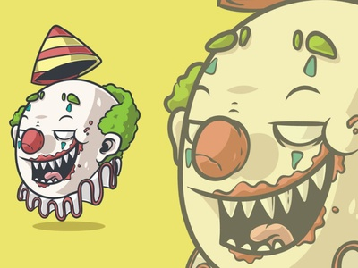 Creepy Clown Head 3d art 3d animation page 3d illustration illustration face cartoon head halloween nose nightmare killer horror fear character creepy monster clown vector