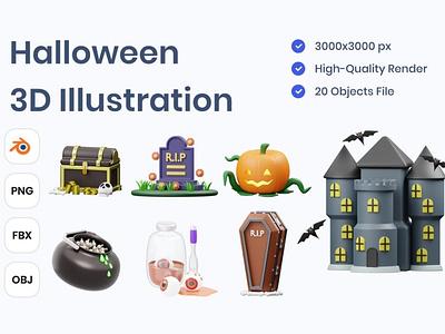 Halloween 3D Illustration 3d art 3d animation page 3d illustration illustration graphics poster party icons 3d happy orange october bat ghost evil festive spooky halloween horror