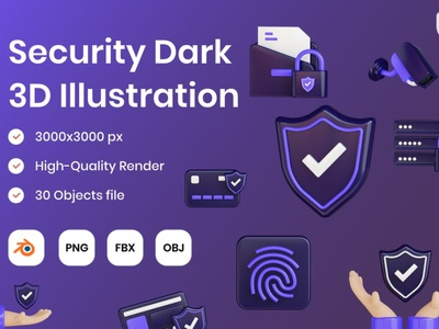 Security Dark 3D Illustration 3d art 3d animation page 3d illustration icons network password safe cyber code bank web lock safety internet illustration security protection 3d
