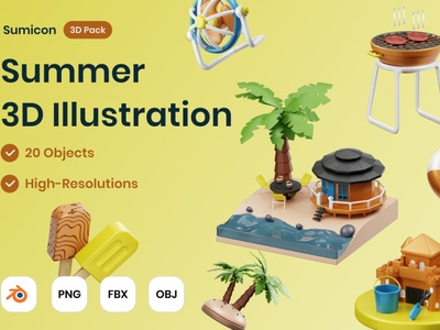 Summer 3D Illustration concept 3d art page 3d illustration relax bbq icons graphics beach wave shine surfing paradise 3d sunny holiday tropical illustration summer