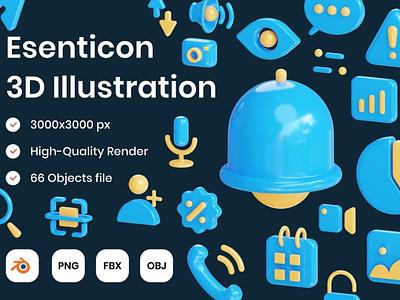 Essential 3D Illustration ui design concept app 3d art 3d animation page 3d illustration illustration 3d icon design 3d icons 3d icon icon design icons icon website web illustrations 3d illustrations 3d