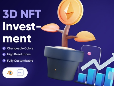 3D NFT Investment Icon concept app 3d illustration illustration illustrations 3d icons icons icon 3d icon crypto nft money cryptocurrency currency business finance graphics graphic asset 3d