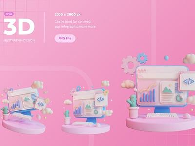 3D Illustration, Computer Programming app illustration icon icons icon design finance money 3d icons 3d icon 3d coding web development web design website webpage web business internet technology development