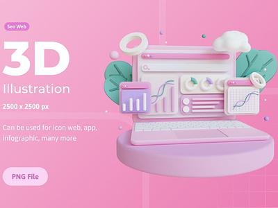 3D Illustration, Computer SEO 3d art illustration icon icons icon design business finance money 3d icons 3d icon digital graphics graphic internet 3d web development web design development concept website