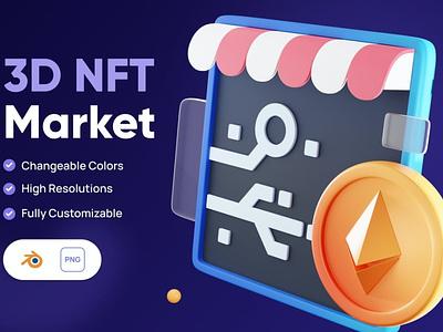 3D NFT Market Icon 3d animation design concept app 3d illustration illustration icon icons icon design business finance money cryptocurrency crypto market art nft 3d icons 3d icon 3d