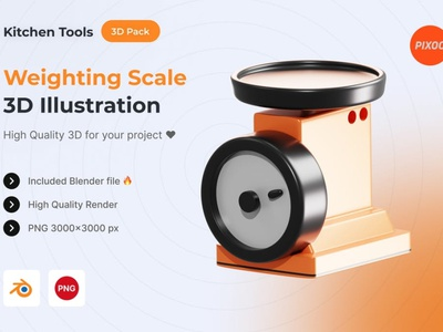 Weighting Scale 3D Kitchen Object animation graphic design ux ui logo design concept app 3d animation 3d art page 3d illustration illustration 3d icons icons design icon design icons icon 3d icon 3d