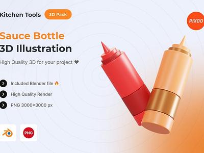 Sauce Bottle 3D Kitchen Object motion graphics graphic design animation ui logo design concept app 3d animation 3d art page 3d illustration illustration 3d icons icons design icon design icons 3d icon icon 3d