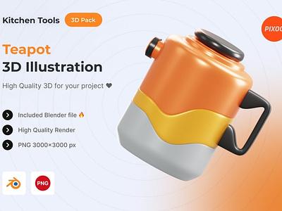 Teapot 3D Kitchen Object motion graphics graphic design animation ui logo design concept app 3d animation 3d art page 3d illustration illustration 3d icons icons design icon design icons icon 3d icon 3d