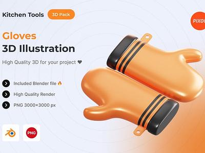 Gloves 3D Kitchen Object motion graphics graphic design animation ui logo design concept app 3d animation 3d art page 3d illustration illustration 3d icons icons design icon design icons icon 3d icon 3d