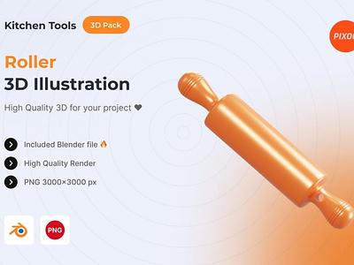 Roller 3D Kitchen Object motion graphics graphic design animation ui logo design concept app 3d animation 3d art page 3d illustration illustration icons design icon design icons icon 3d icons 3d icon 3d
