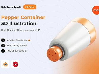 Pepper Container 3D Kitchen Object ui logo design concept app 3d animation 3d art page 3d illustration illustration icons design icon design icons icon 3d icons 3d icon 3d kitchen pepper container pepper