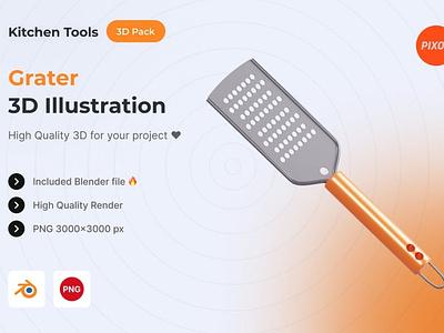 Grater 3D Kitchen Object animation ui logo page 3d art illustration graphics design design app concept 3d object object kitchen icons design icon design icons icon 3d icons 3d icon 3d