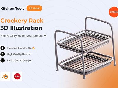 Crockery Rack 3D Kitchen Illustration logo page 3d art 3d animation 3d illustration illustration graphics design design app concept 3d object object kitchen icons design icon design icons icon 3d icons 3d icon 3d