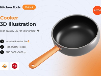 Cooker 3D Kitchen Illustration ui logo page 3d art 3d illustration illustration graphics design design app concept 3d object object kitchen icons design icon design icons icon 3d icons 3d icon 3d