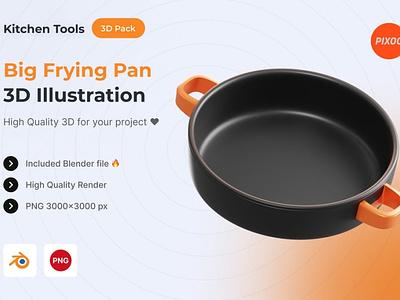 Big Frying Pan 3D Kitchen Illustration logo page 3d art 3d animation 3d illustration illustration graphics design design app concept 3d object object kitchen icons design icon design icons icon 3d icons 3d icon 3d
